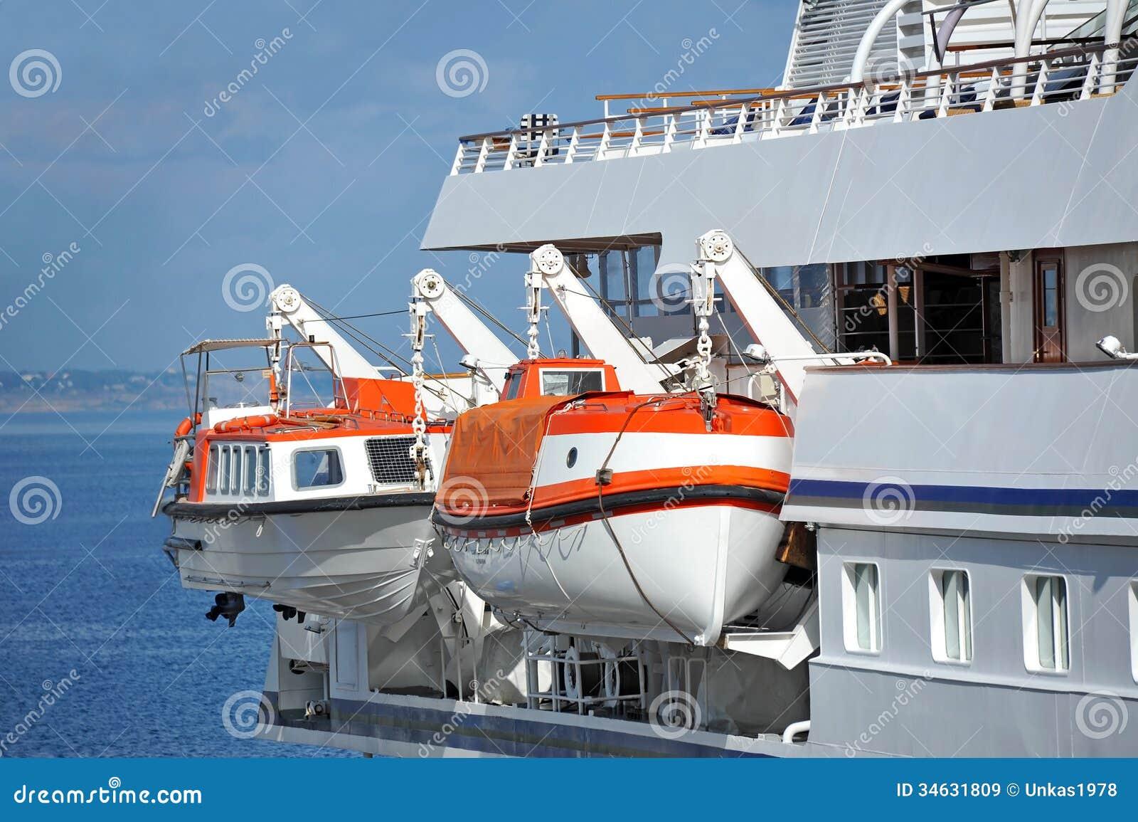 Cruise Ship Lifeboats Outdoor Background Boat Nobody Stock Photo ...
