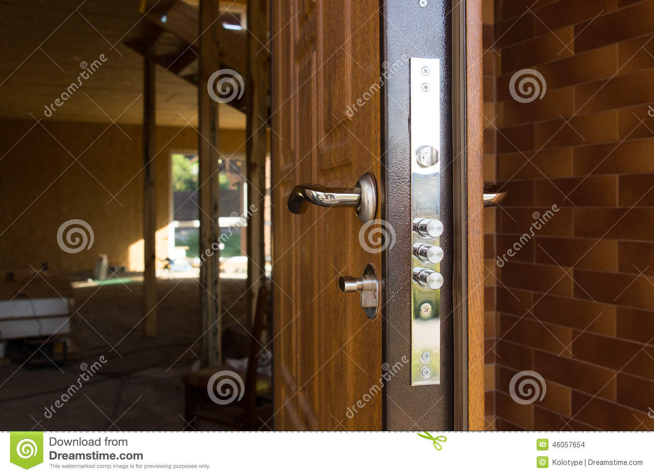 947 #38200E Safety Lock On A New Wooden Front Door Showing The Three Security  save image Safest Front Doors 40071300