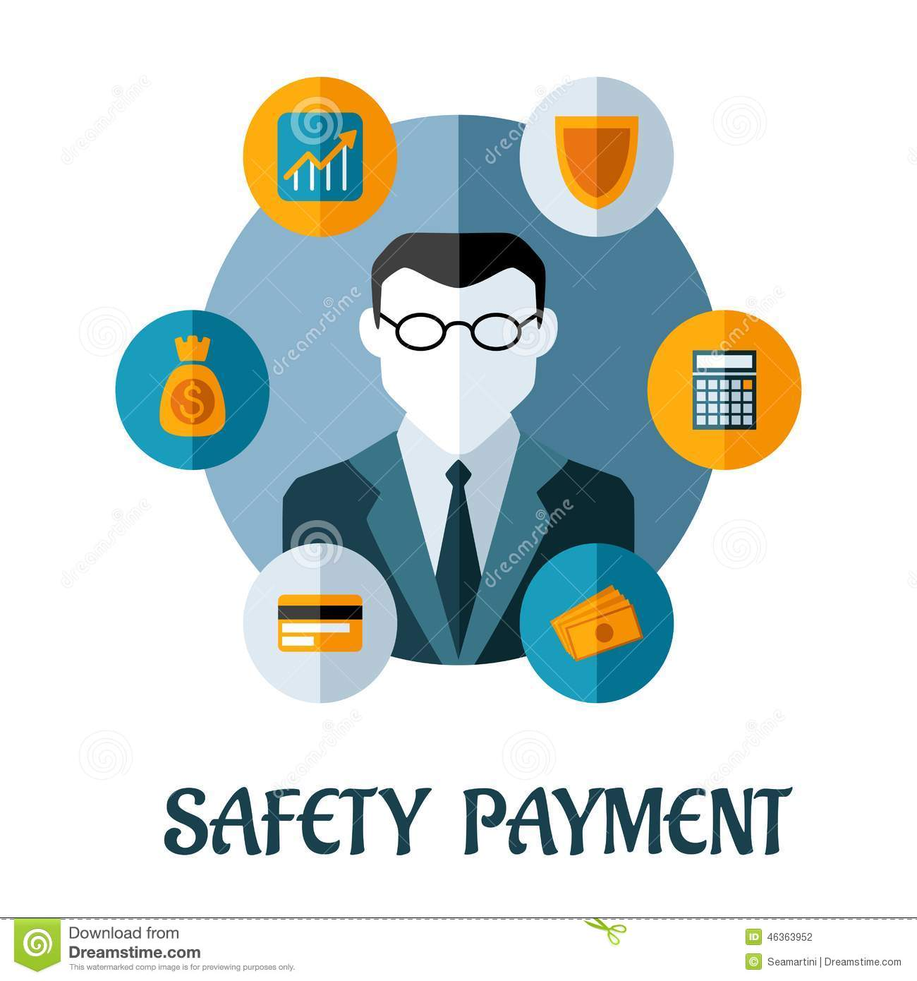 safety payment flat concept stock vector