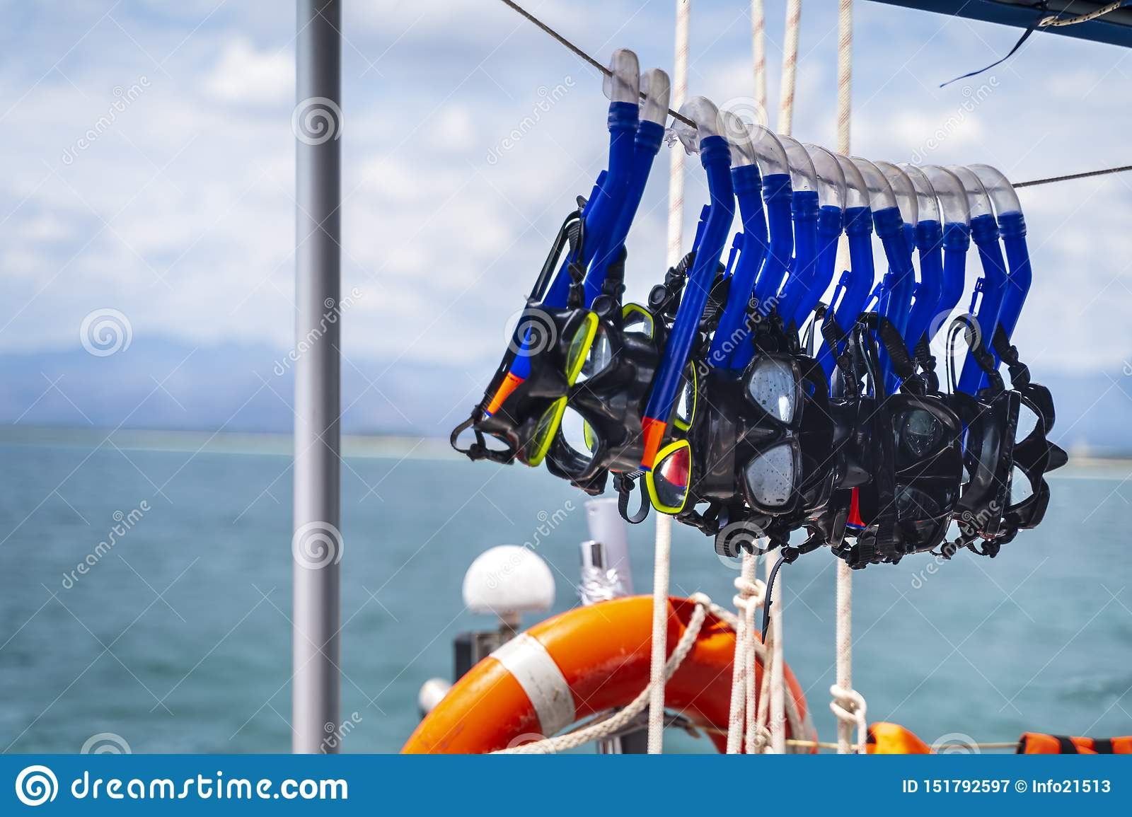 Safety ring and snorkeling goggles on the yacht near the beach Playa Ancon near Trinidad