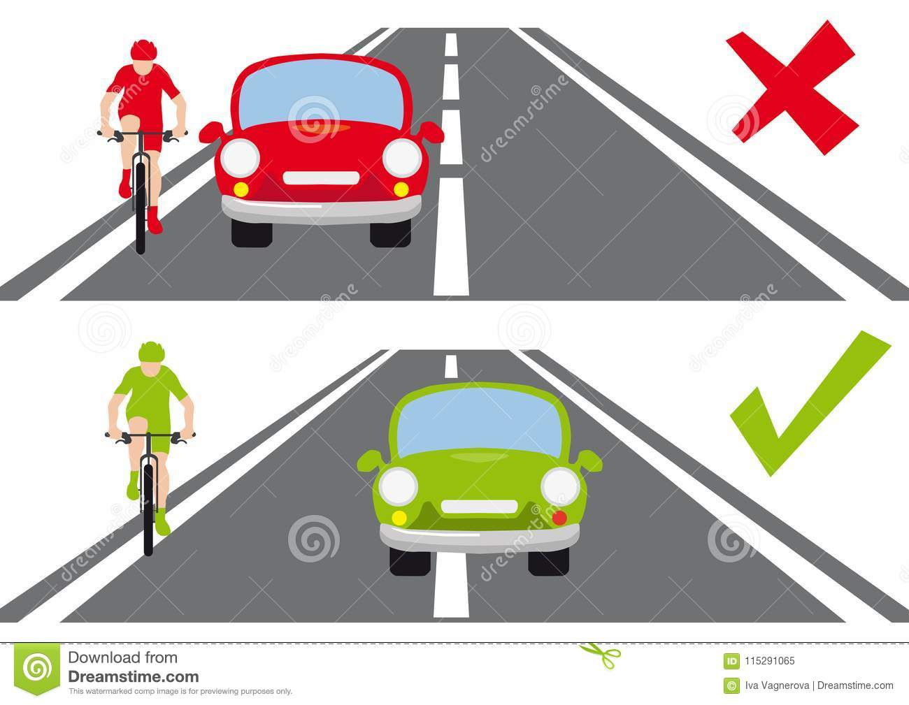 how to overtake a cyclist on the road correct way stock vector