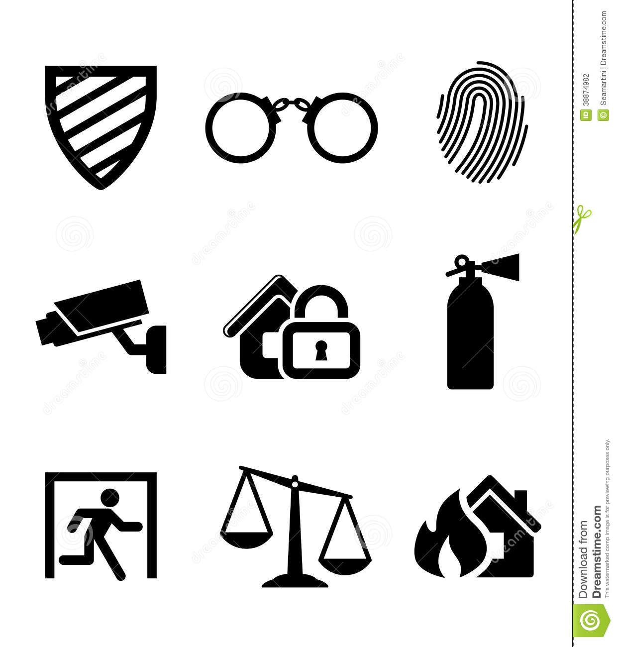 Safety and security icons set with a security shield , handcuffs ...