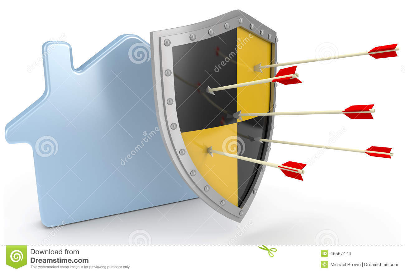 Shield House safety shield insurance protect home risk stock illustration