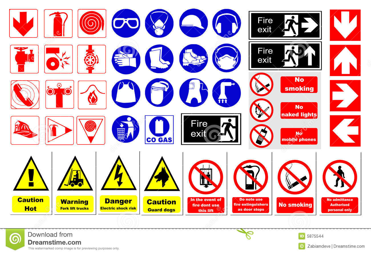 Safety signs vector illustration on white background.
