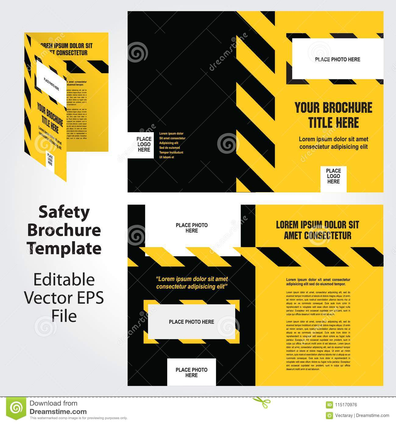 safety theme brochure template design stock illustration