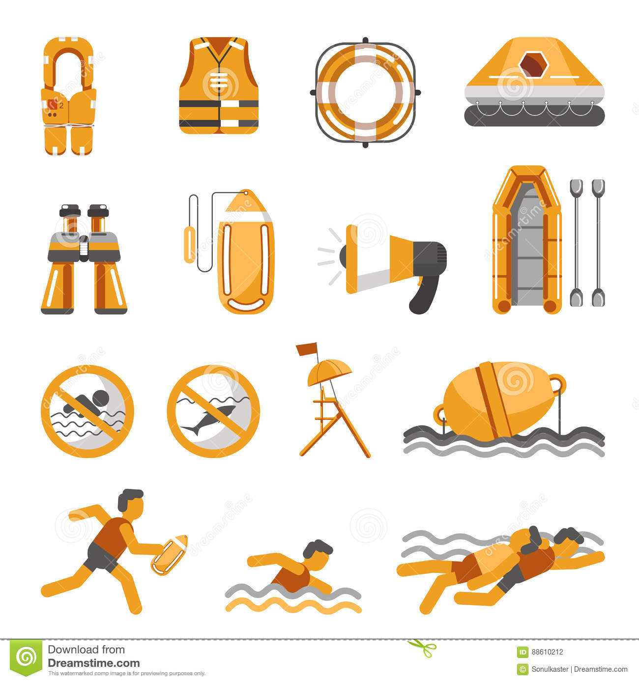 43608bb06b8a Safety on water vector flat icons set for infographics stock vector jpg  1300x1390 Lifeguard icons water