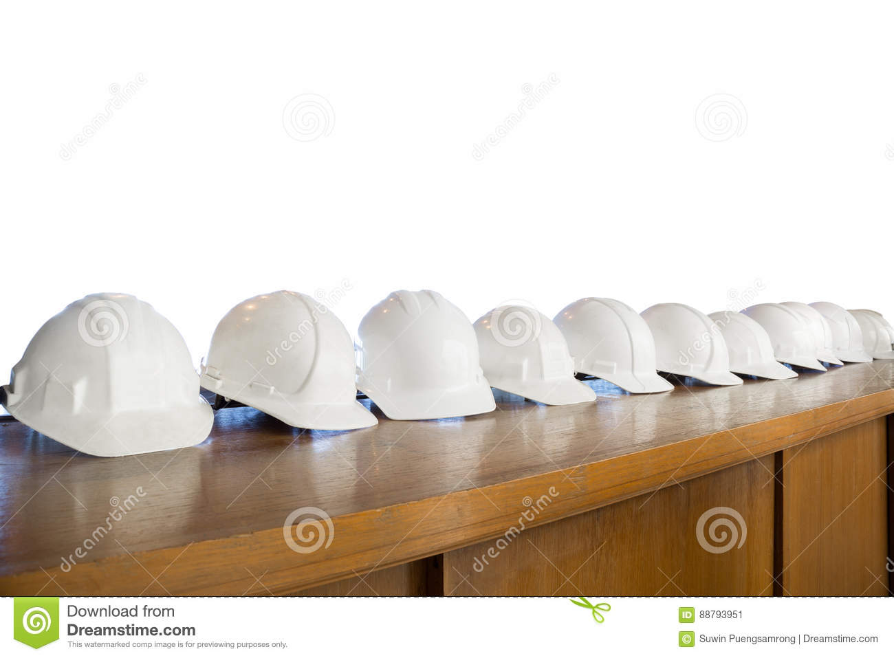 Safety White Helmet Row Isolated On White Background Stock Image ... fe3d8da383f3