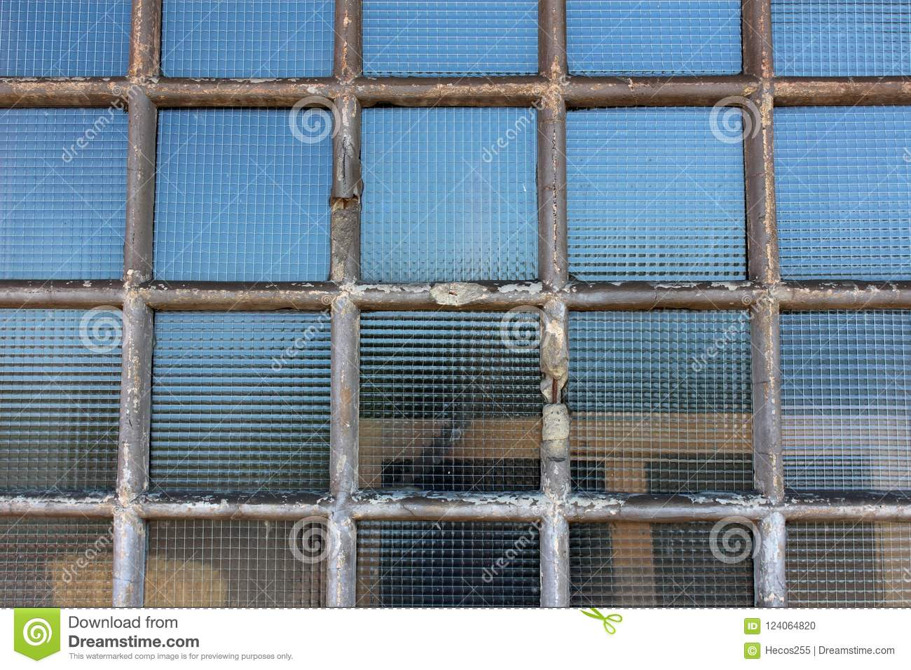 Safety Wire Protection Glass Windows With Dilapidated Concrete ...