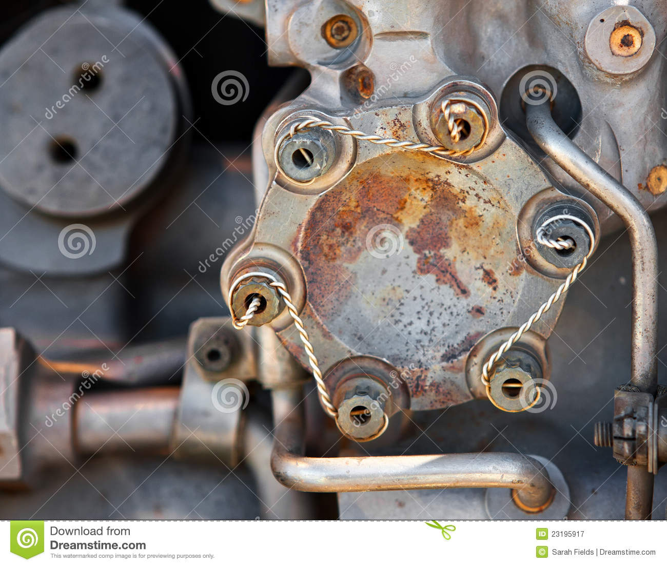 Safety Wired Bolts stock image  Image of bolt, engine - 23195917