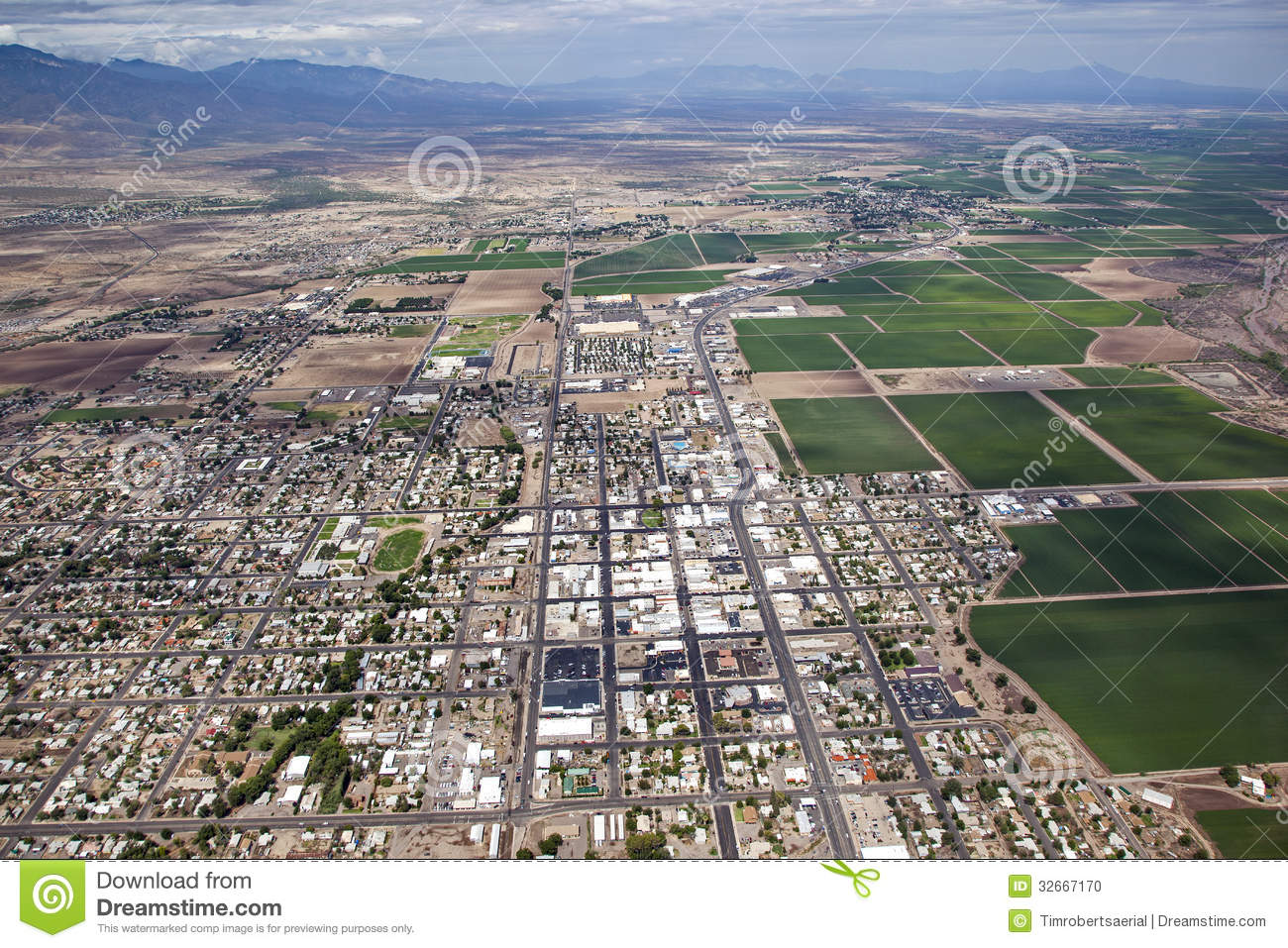 Aerial view of the town of Safford in Southeast Arizona.