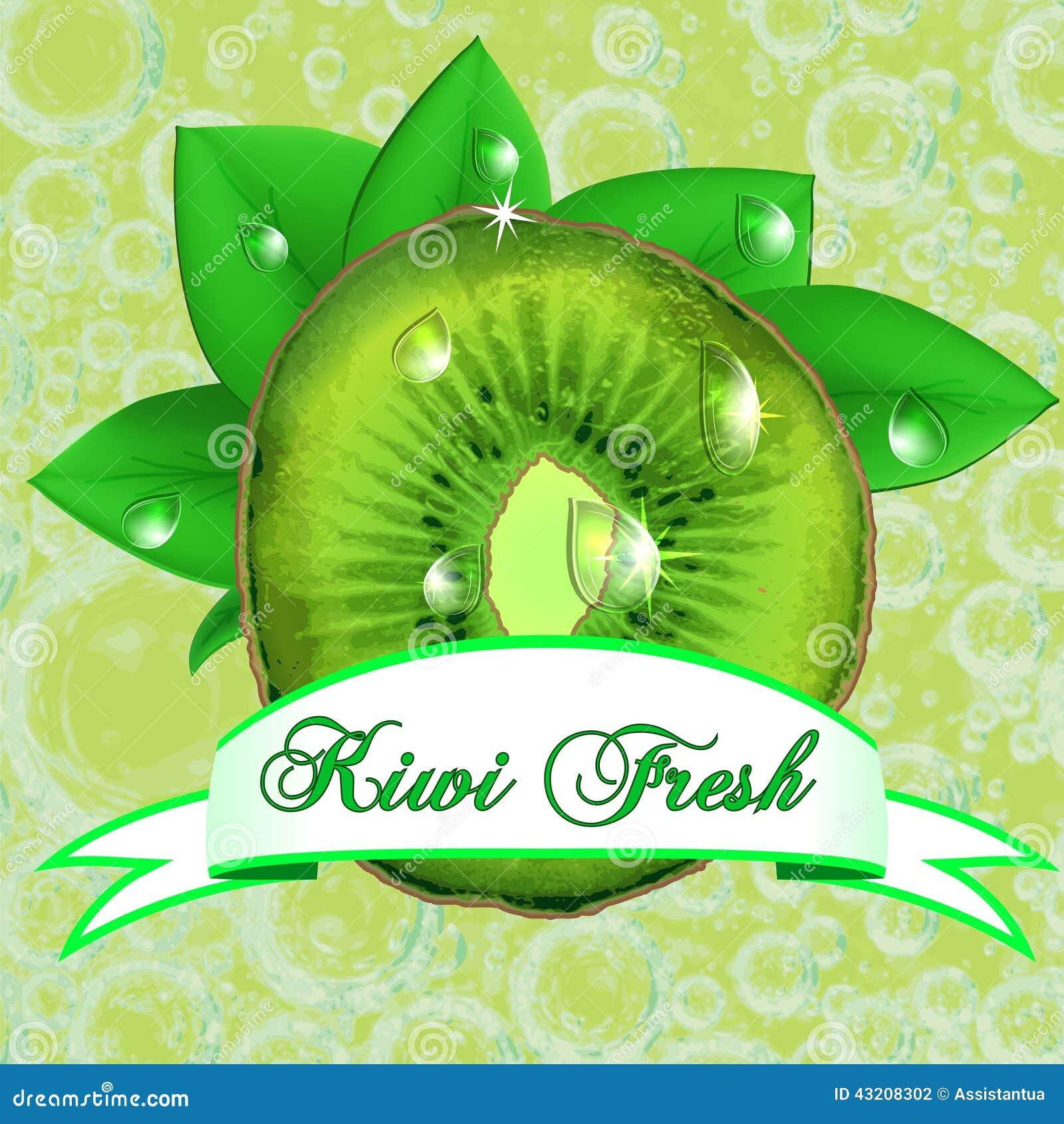 Download Saftig Ny Kiwi Med Sidor, Droppar Och Bandet Vektor Illustrationer - Illustration av design, leaf: 43208302