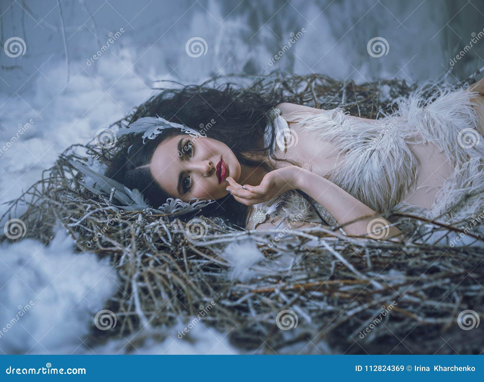 Sagan av svan sjön Flickafågeln ligger i redet och ler En sagabild av en drottning av svanar, en dräkt