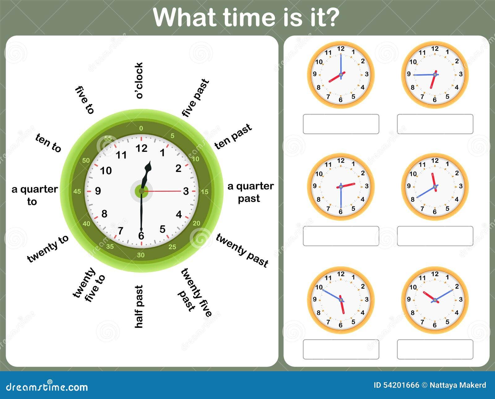 Sagen Des Zeitarbeitsblattes Schreiben Sie Die Zeit, Die Auf Die Uhr ...