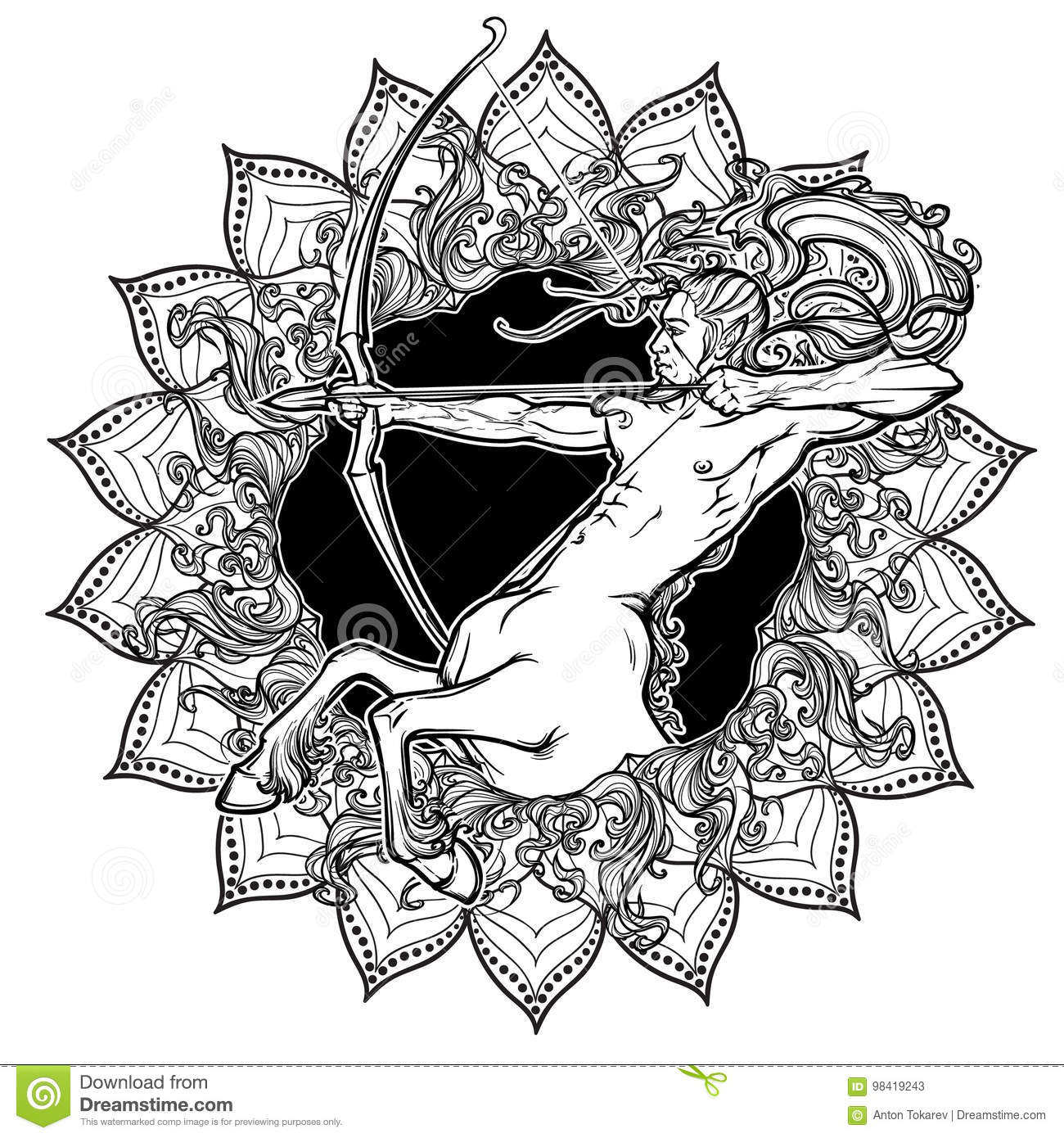 5498412d76554 Sagittarius Zodiac sign with a decorative frame of sun flares and sunflower  petals. Astrology concept art. Tattoo design. Gay Pinup style.