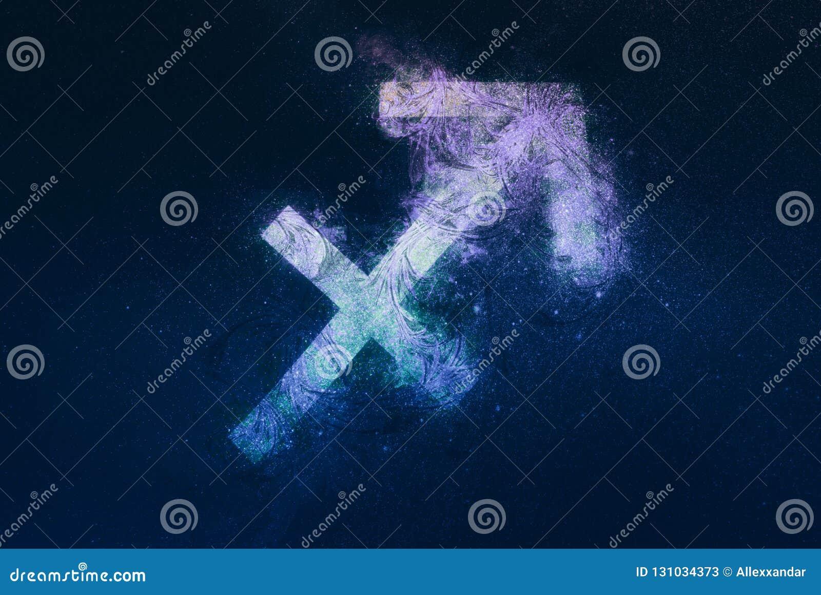 Sagittarius Zodiac Sign  Night Sky Background Stock