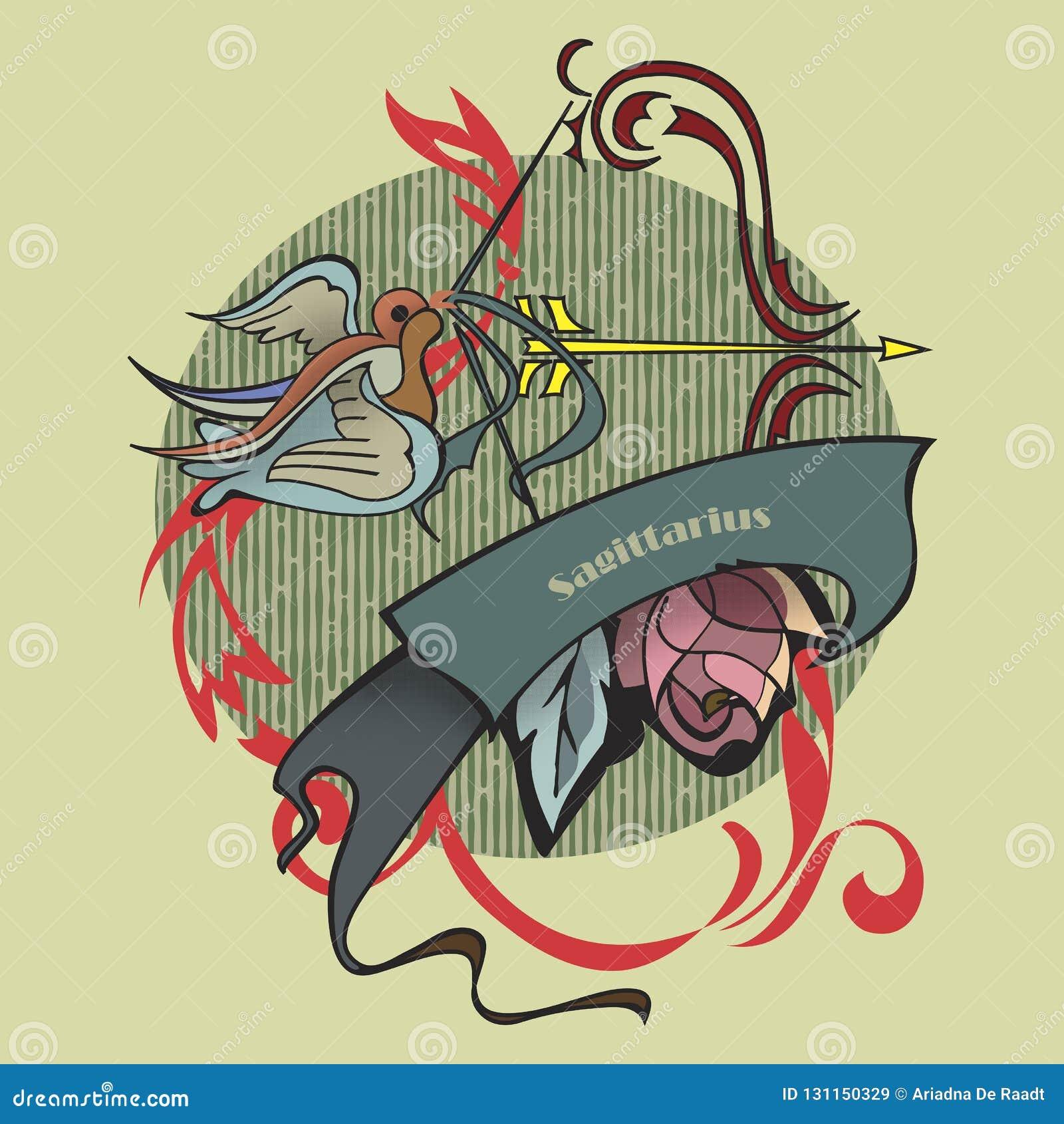 a35b8e7af6195 Sagittarius tattoo stock illustration. Illustration of roses - 131150329