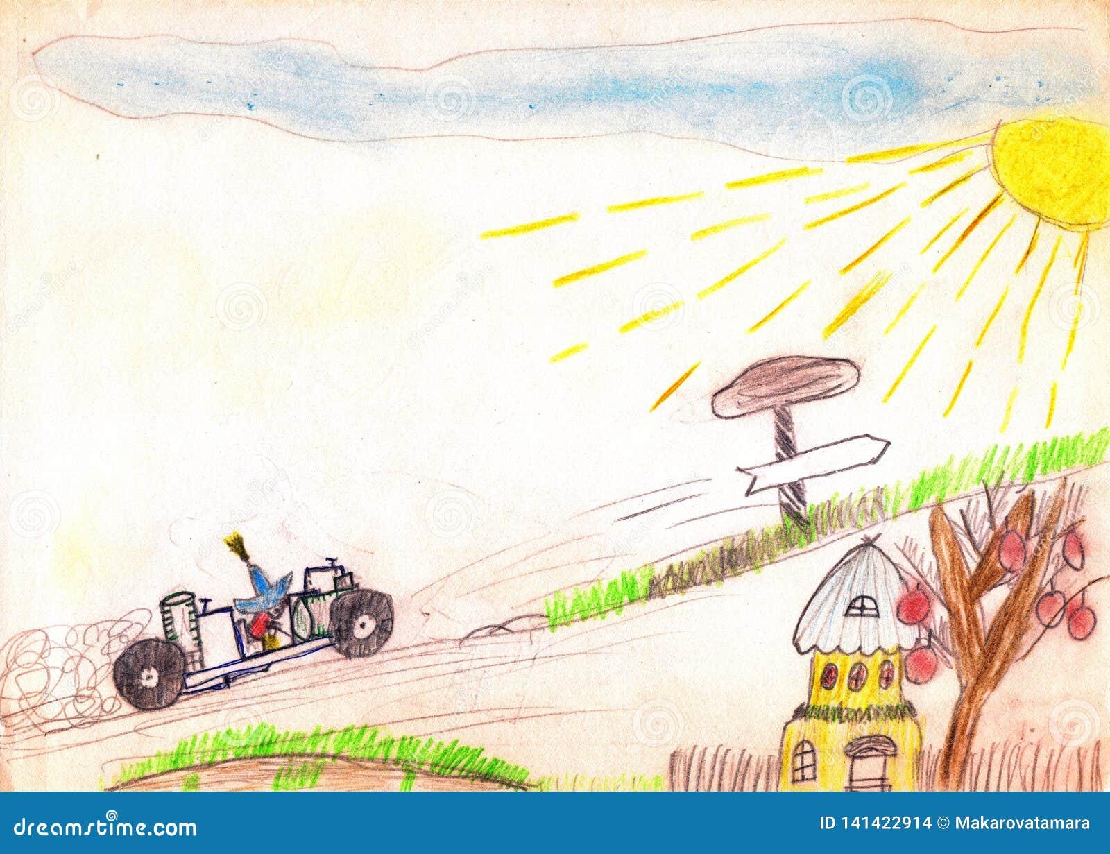 Sagoboktecken Neznayka på bilen som går stigande Den gula solen, blå himmel, det lilla huset, väg sjunger tecknande faderson