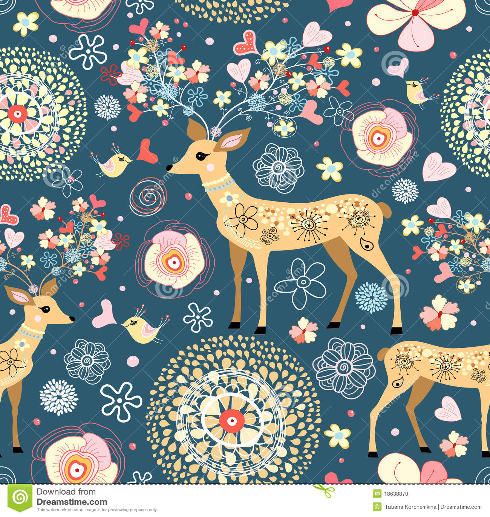 Sagolik blommatextur för hjortar