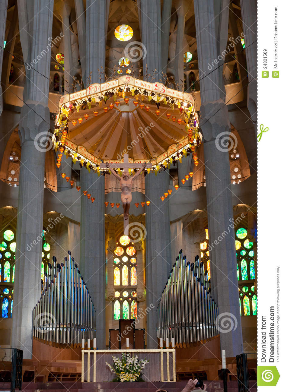 Sagrada Familia Cathedral Altar Editorial Stock Image