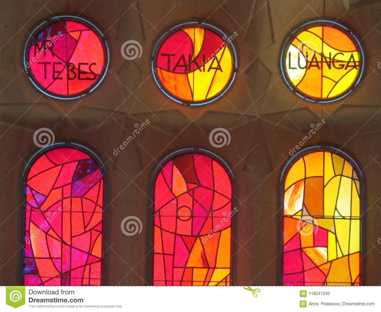 Sagrada familia cathedral colored window pane stained glass