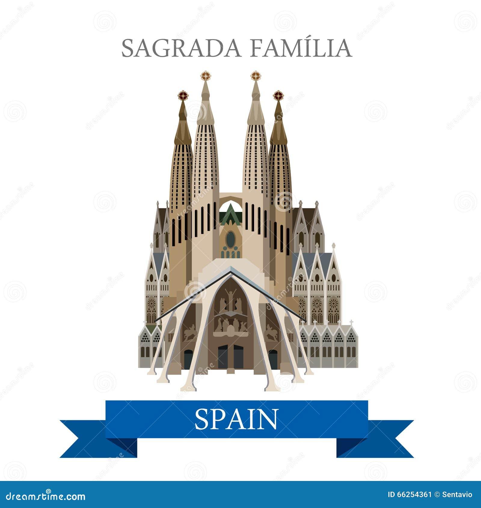 Sagrada Familia Gaudi Basilica Barcelona Spain Flat Vector