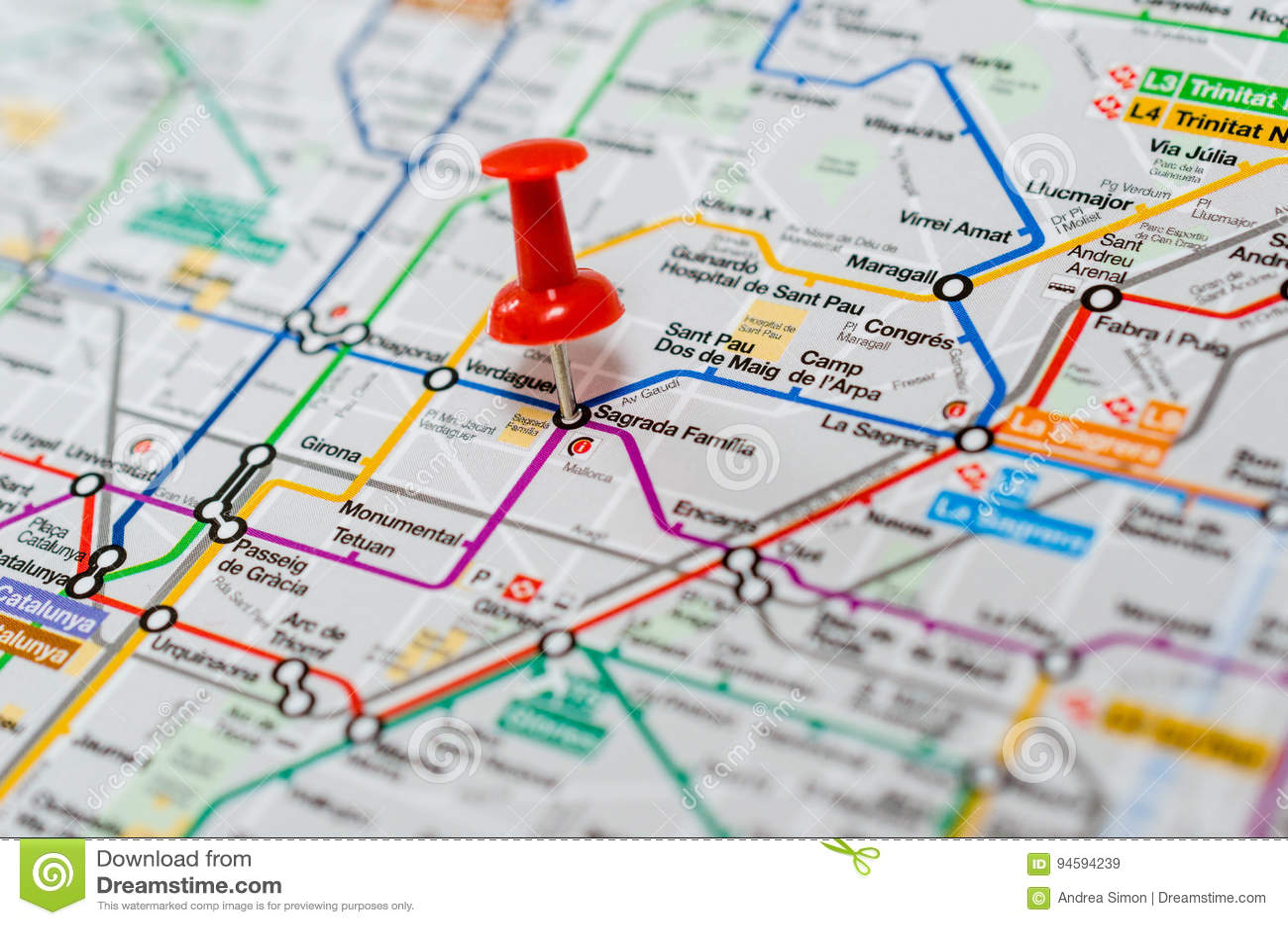 Subway Map Barcelona.Sagrada Familia On A Map Stock Image Image Of Discovery 94594239