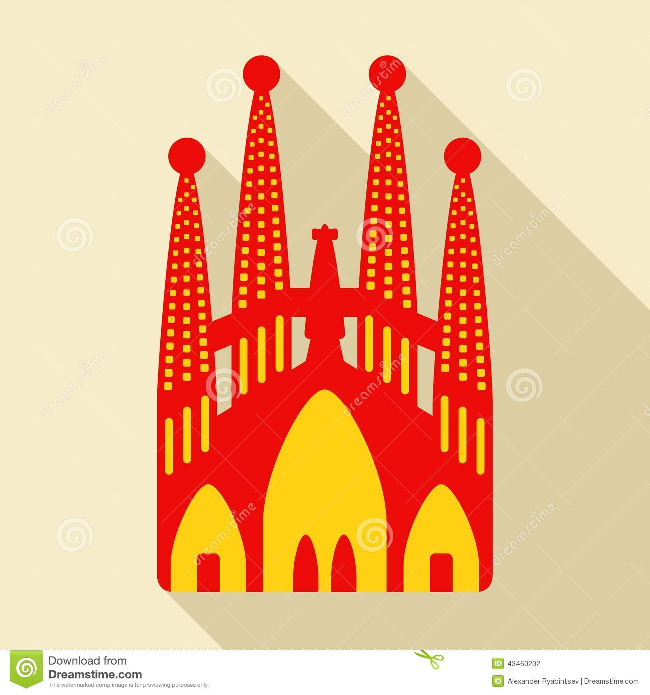 Sagrada Familia. Vector Illustration Editorial Photography - Image ...