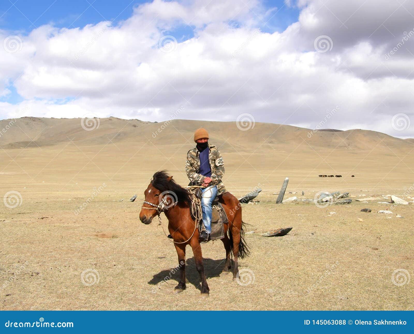 SAGSAY, MONGOLIA - MAY 22, 2012: Mongolian horseman shepherd his of sheep in the desert
