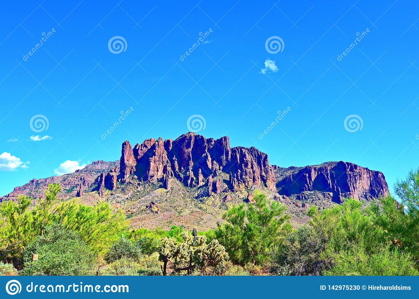 Saguaro Cactus Superstition Mountain Range Blue Skies Arizona
