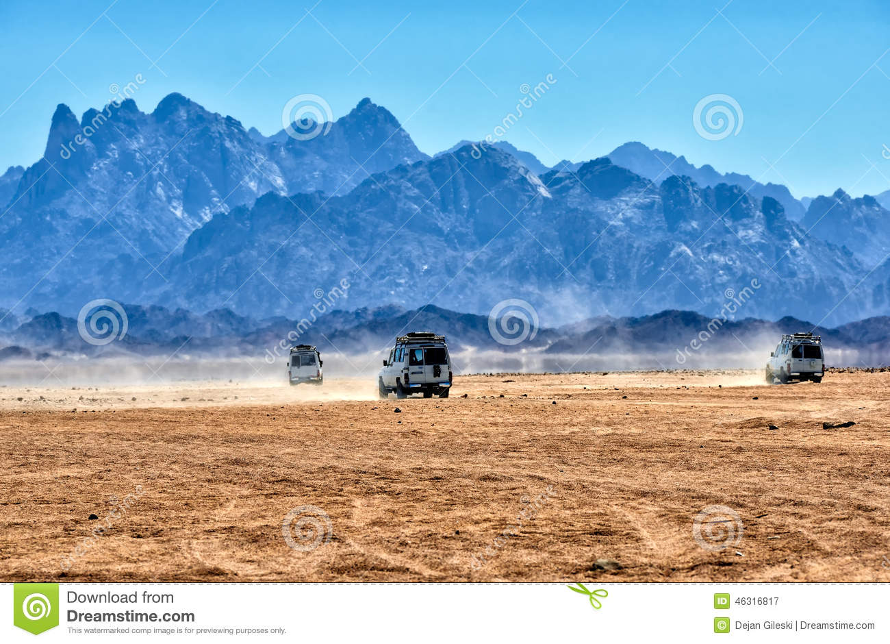 Sahara desert with jeeps for safari