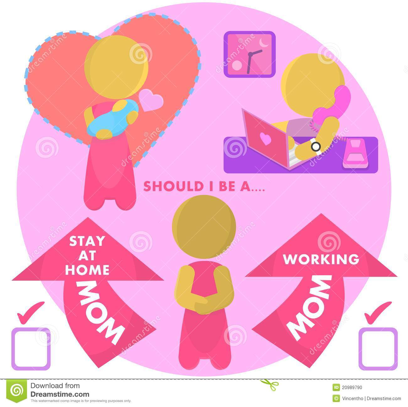 Sahm Stay At Home Mom Or Working Mum Illustration Stock