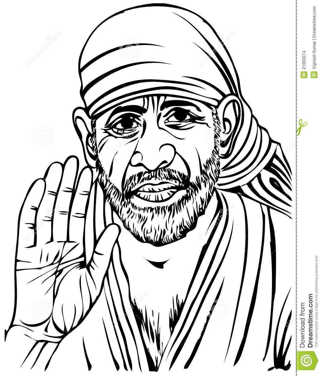 Line Art Painting Images : Sai baba stock illustration of colour