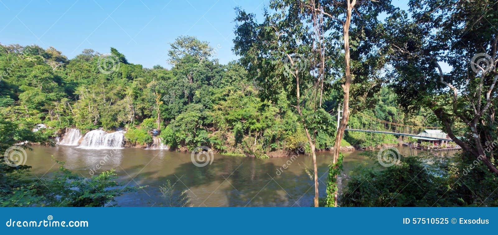 Sai Yok Yai Waterfall With Suspension Bridge Stock Photo ...