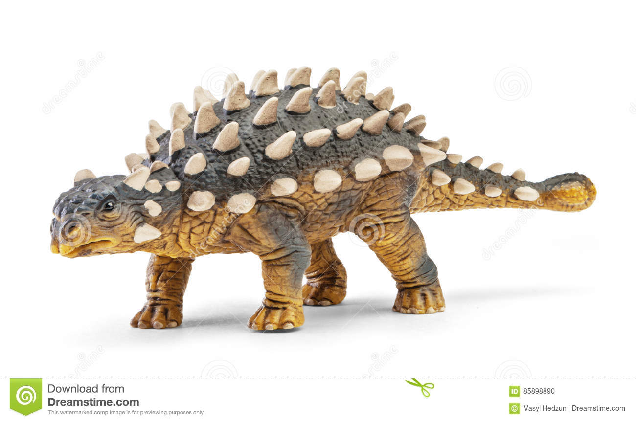 Saichania dinosaur toy isolated on white background with clipping path.