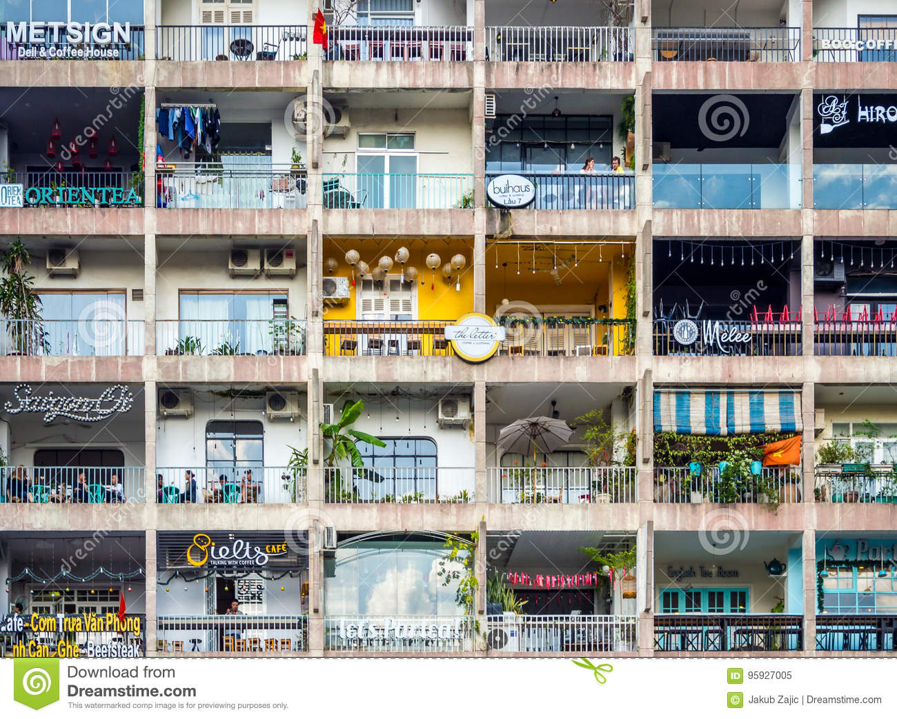 Saigon, Ho Chi Minh City, Vietnam, January 2017: [ Apartment building with many flats and shops, Saigon Vietnamese living style in