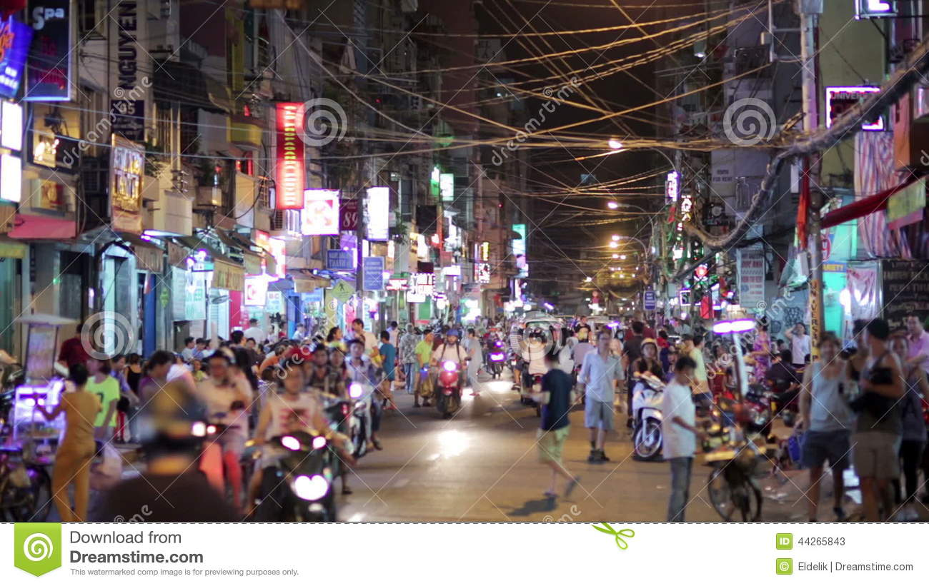 SAIGON, VIETNAM - MAY 2014: Nightlife With Bars And Pubs Stock ...