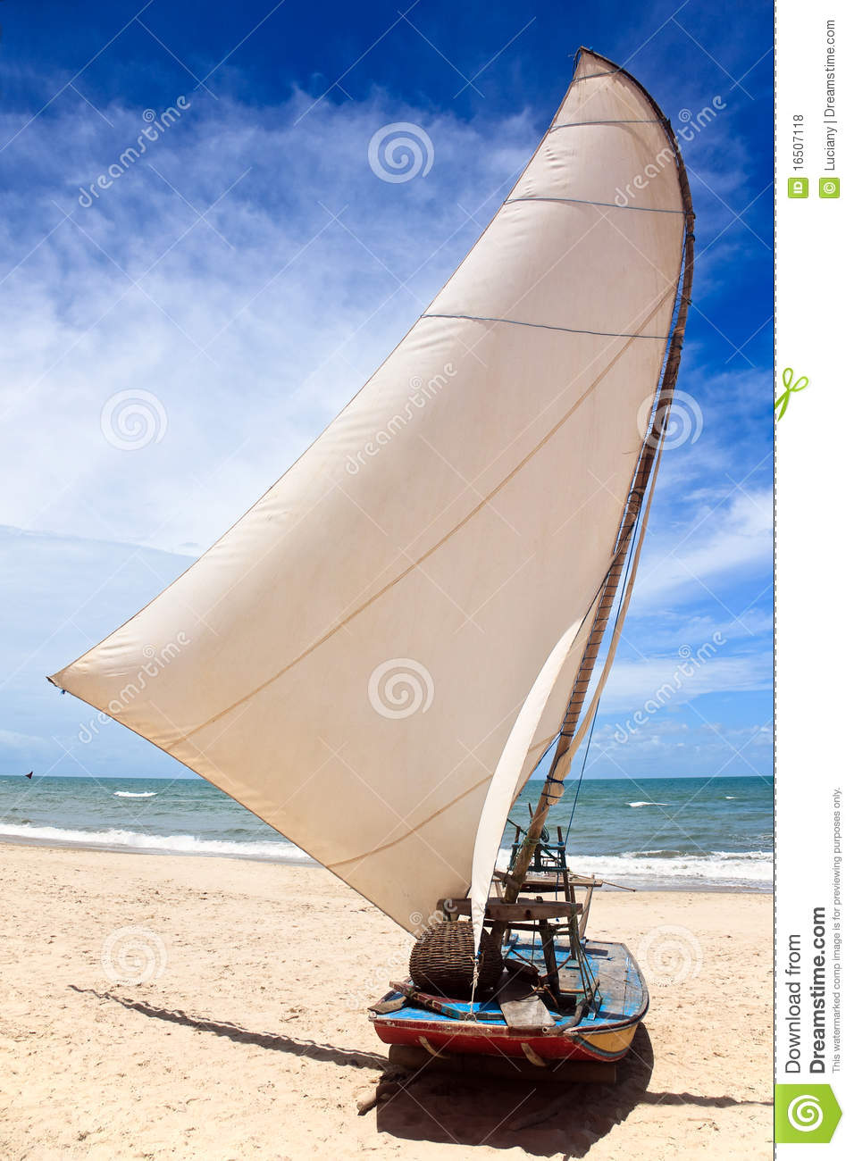 Sail Boat On A Brazilian Beach Royalty Free Stock Photos - Image ...