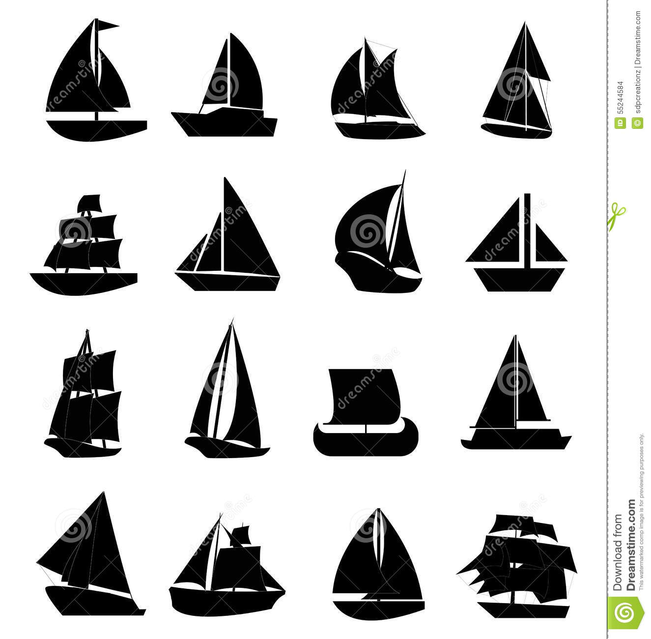 Sail Boat Icons Set Stock Vector Illustration Of Ship