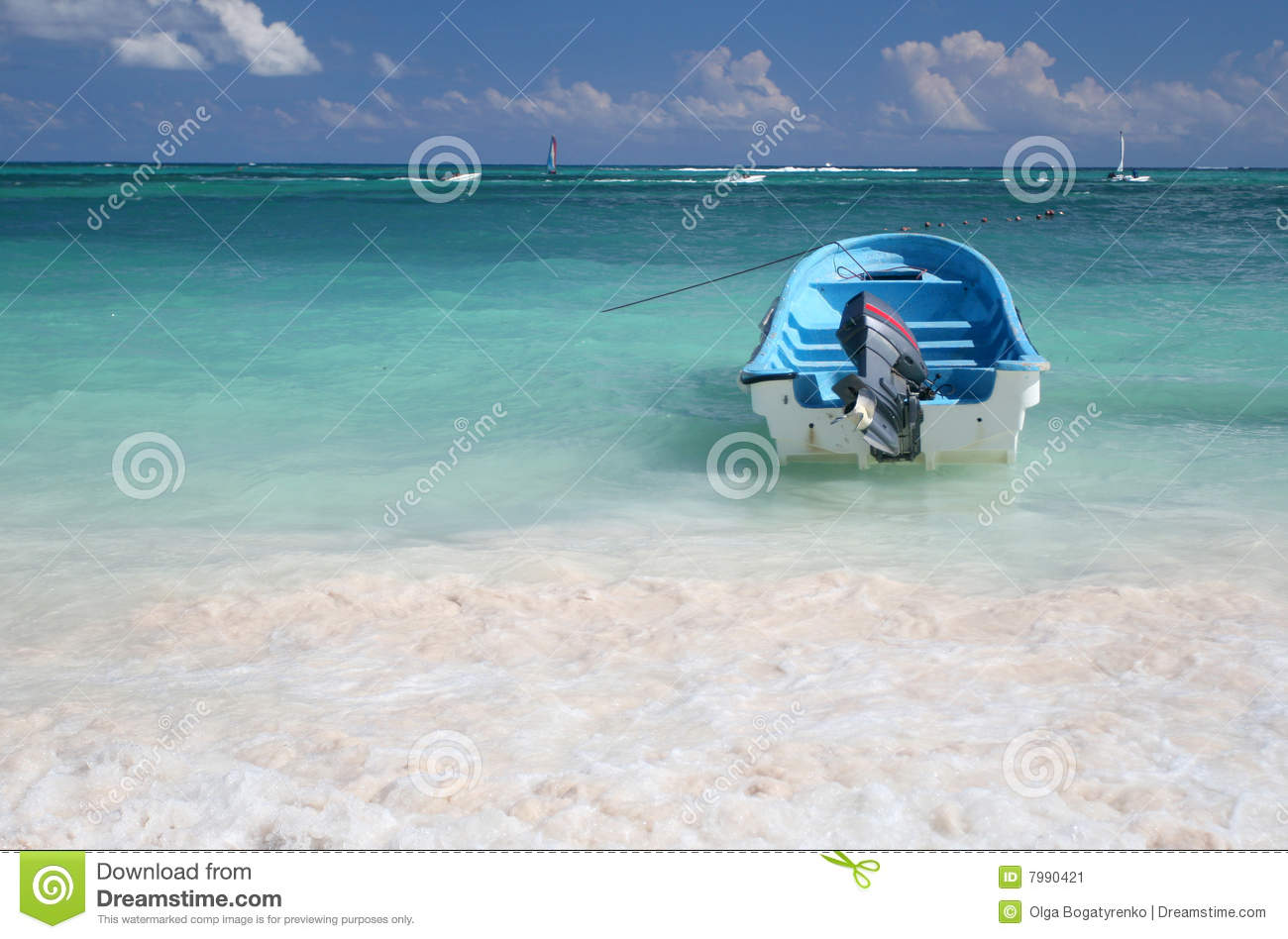 Download Sail Boat In A Tropical Green Ocean Stock Image - Image of rest, mexico: 7990421