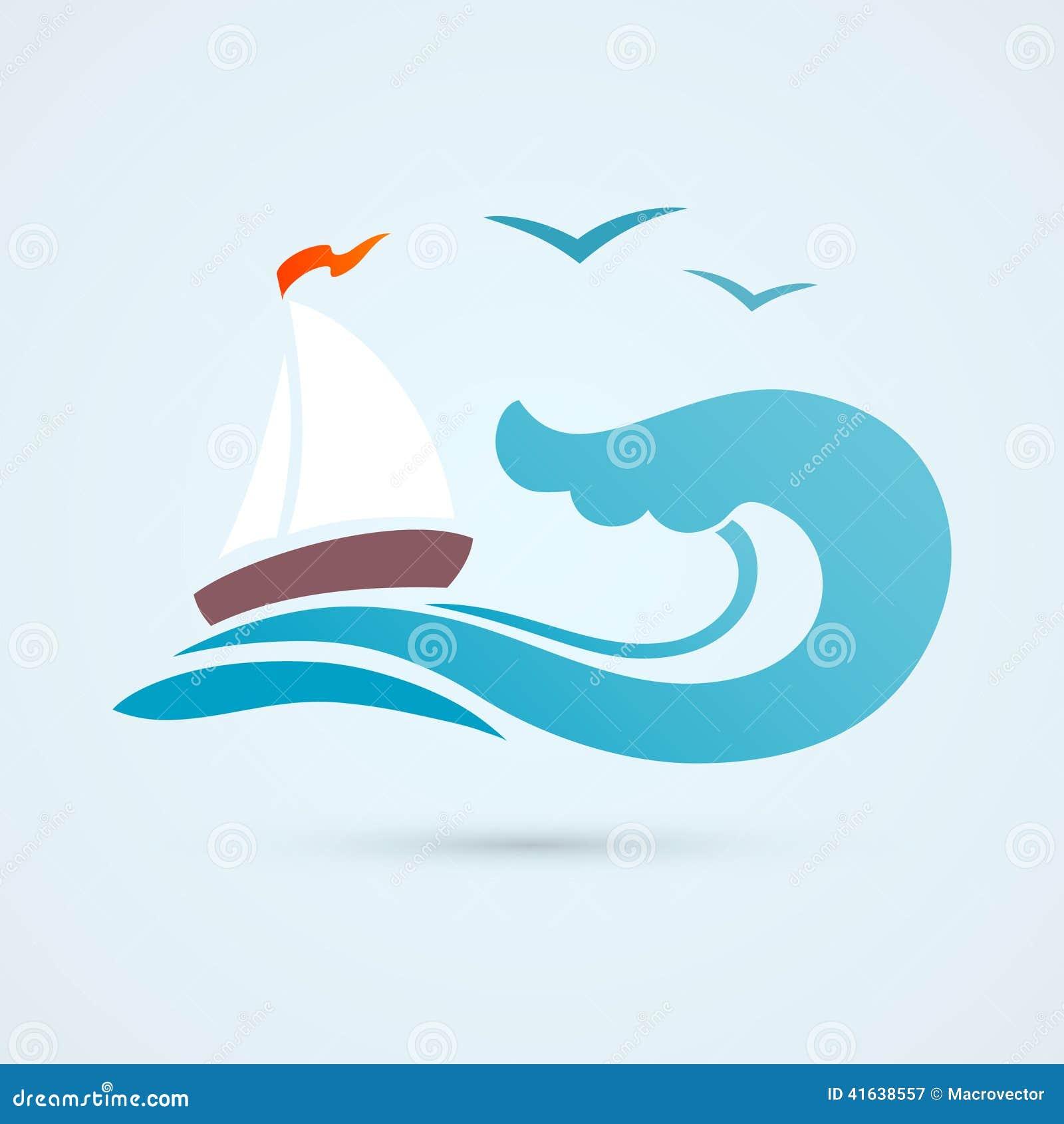 Sail Ship Wave Icon Stock Vector Image 41638557