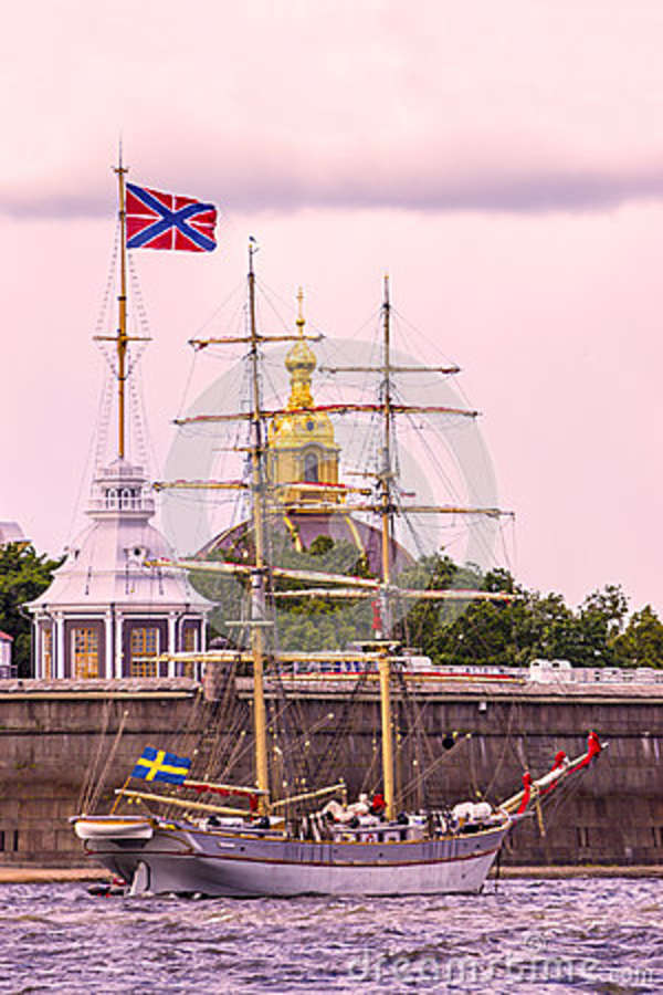 Sailboat against a background of Peter and Paul Fortress, St. Pe
