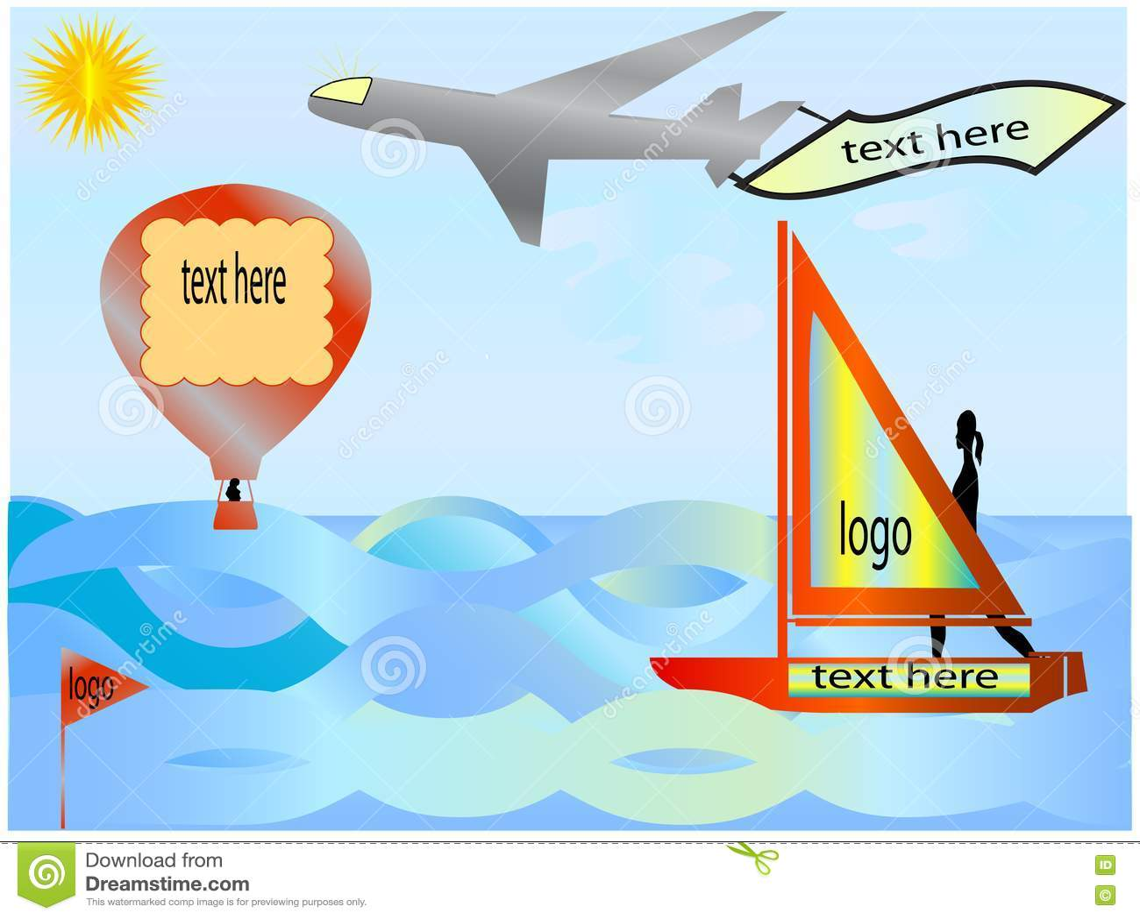 Sailboat, balloon and plane