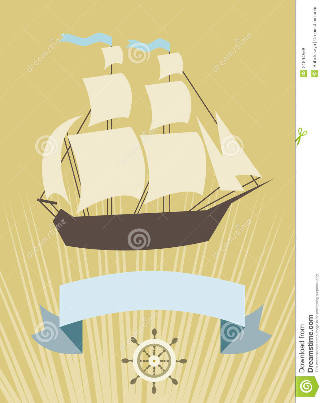 Sailboat With Banner For Your Message Royalty Free Stock Photos - Image: 31894558