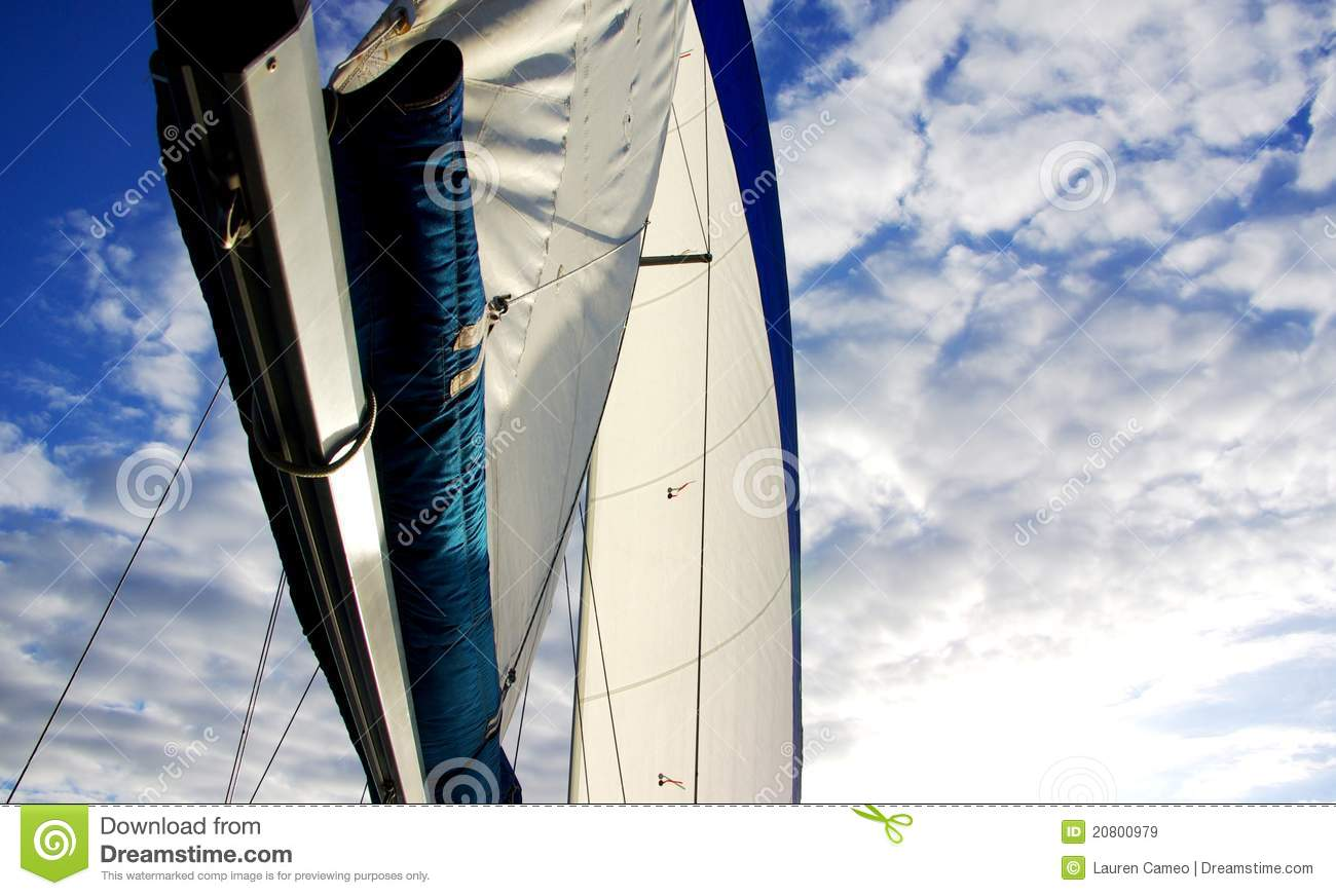 Looking up at the boom and sail of a yacht doing 4 knots across the ...
