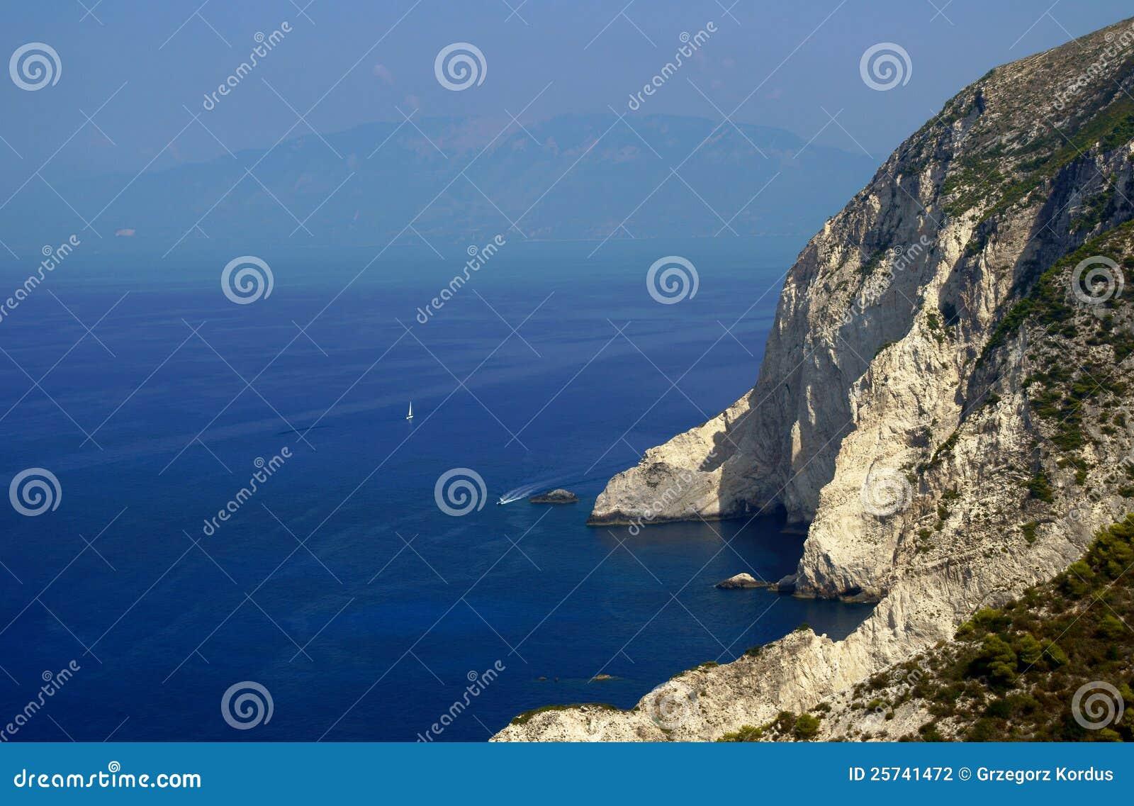 Sailboat and cliff, Zakynthos island