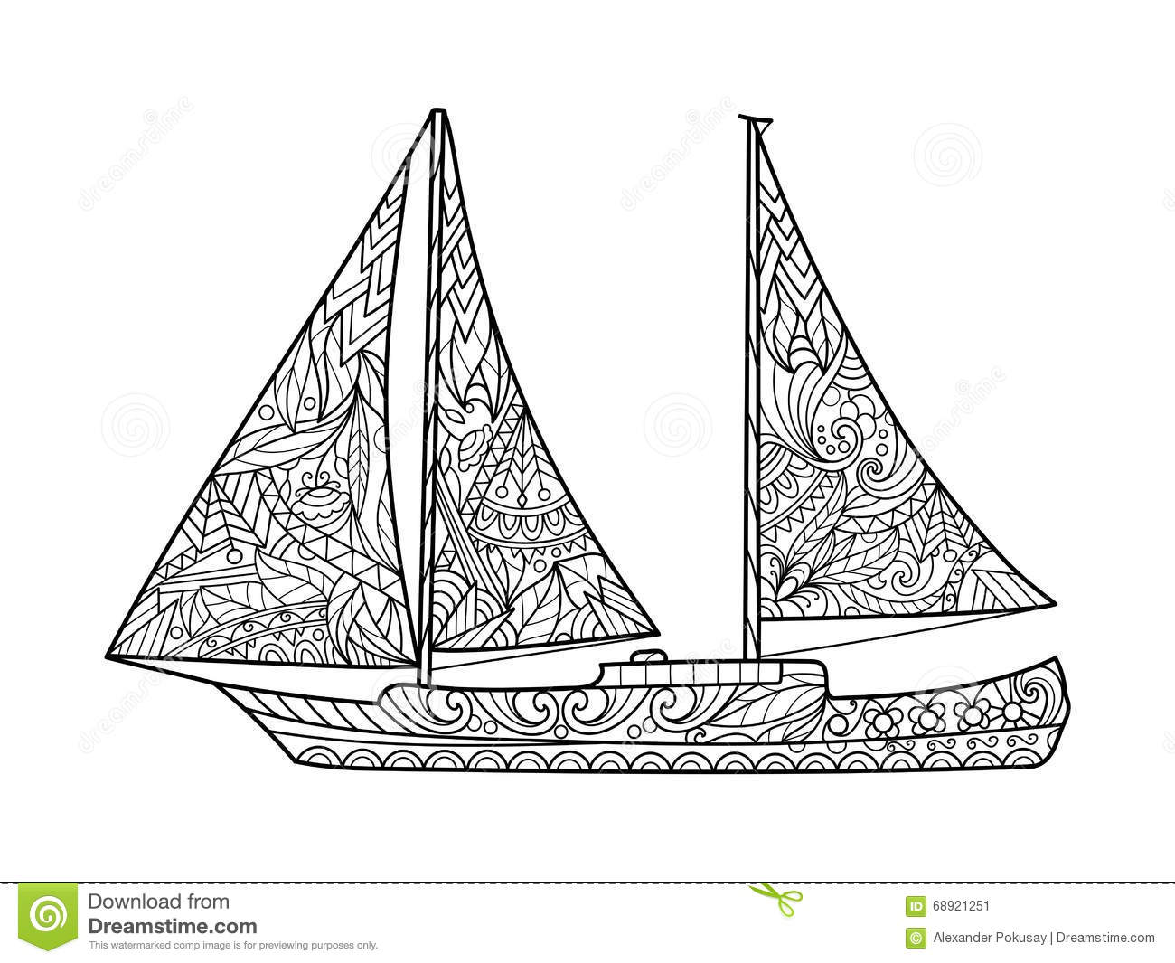 Sailboat Coloring Book For Adults Vector Stock Vector