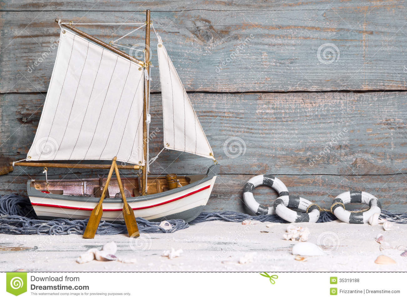 Sailboat decoration stock photo. Image of driftwood, beach - 35319188