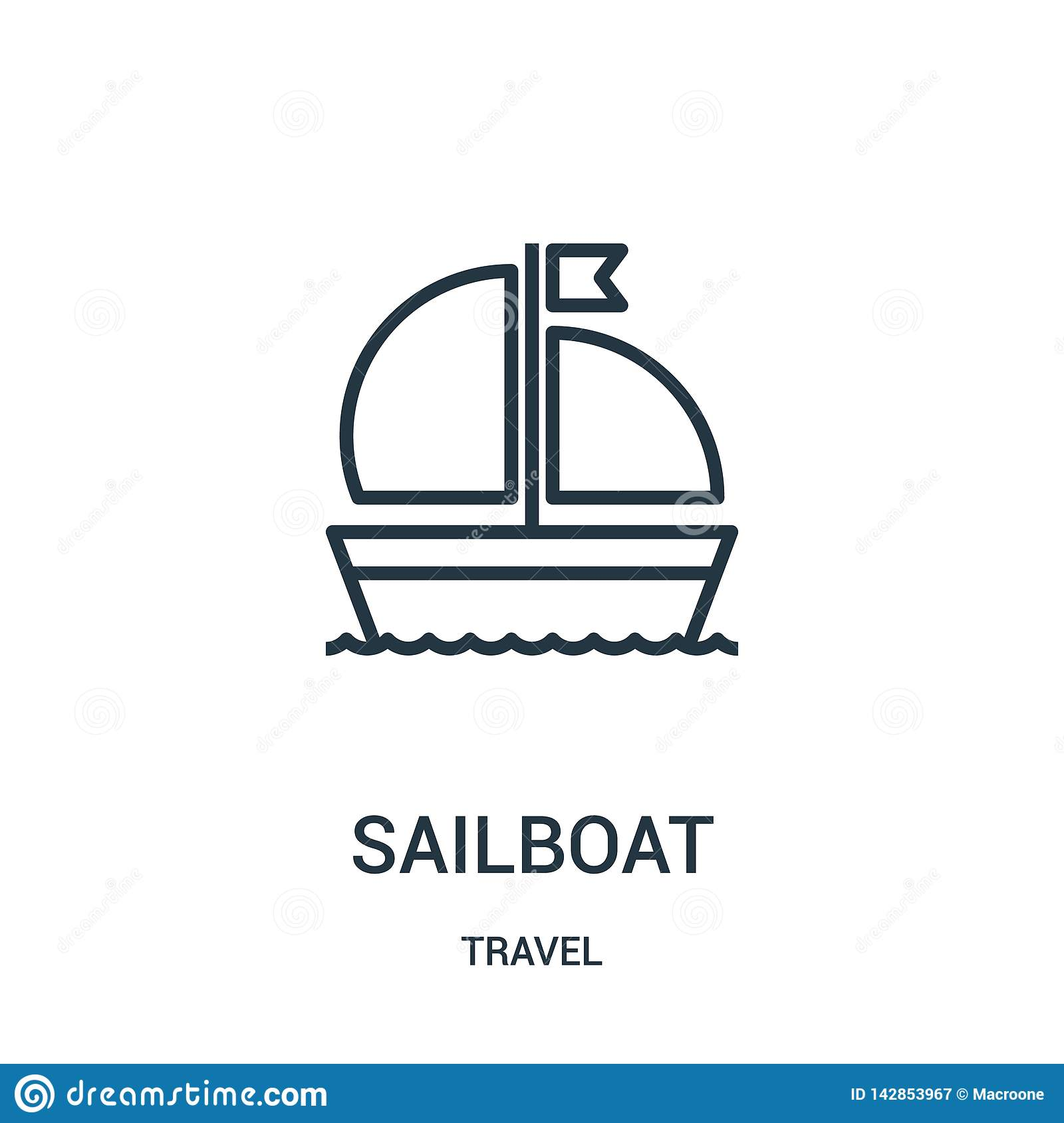 sailboat icon vector from travel collection. Thin line sailboat outline icon vector illustration. Linear symbol for use on web and