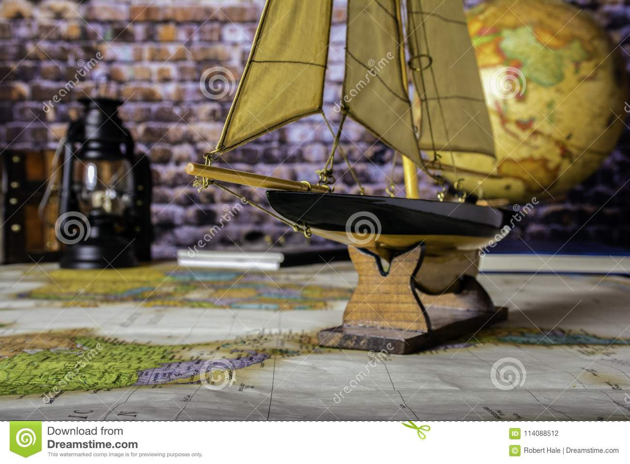 Sailboat on Map of the World