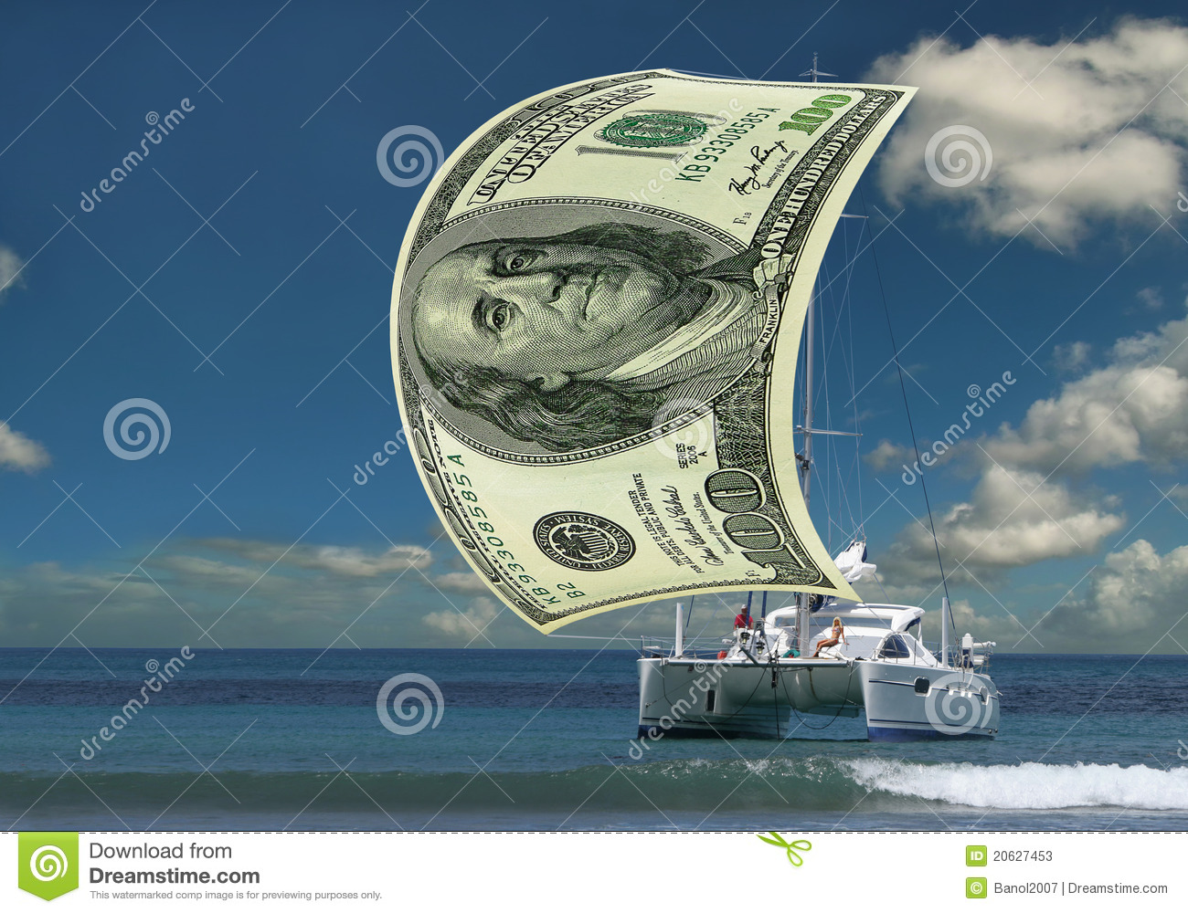 Sailboat money sail stock image. Image of blue, luxurious - 20627453